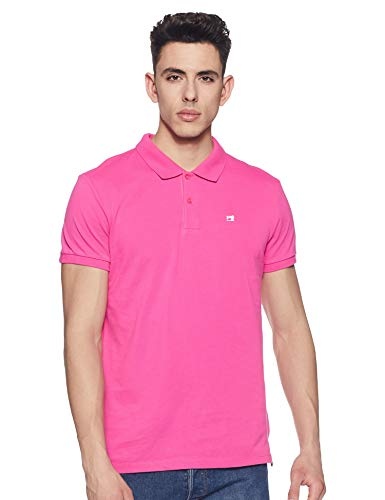 Scotch & Soda Herren Poloshirt Classic Clean Pique Polo with Pop Logo Print, Pink, M -
