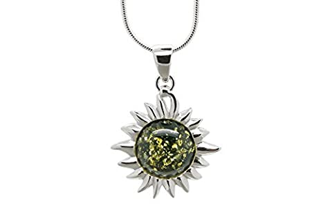 925 Sterling Silver Flaming Sun Pendant Necklace with Genuine Natural