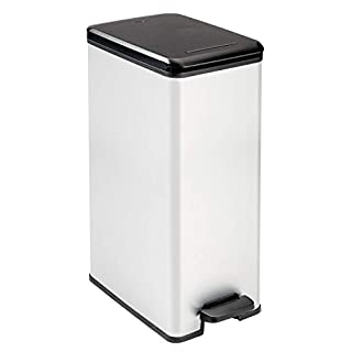 Curver 40 L Metal Effect Plastic Pedal Touch Slim Deco Bin, Silver