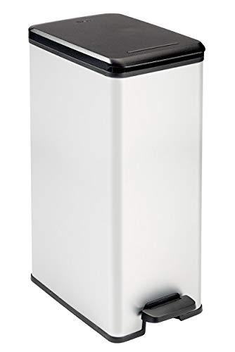 CURVER | Poubelle Slim 40L, Argent, Metal bins, 39,3x25x60,7 cm