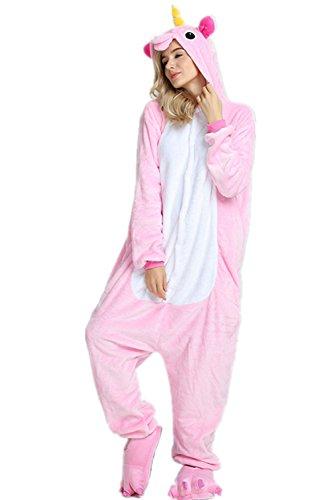 VineCrown Schlafanzug Einhorn Pyjamas Tier Overall Karikatur Neuheit Jumpsuit Kostüme für Erwachsene Kinder Weihnachten Karneval Cosplay (S for 150CM- 160CM, Pink ()