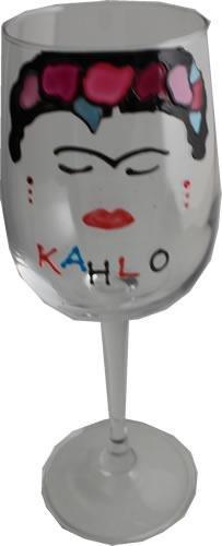 Frida kahlo bicchiere di vino di lusso con cristalli swarovski (face)