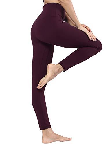 Nylon Running Strumpfhose (Disbest Damen Sport Leggings, Yoga Hose Pants Neunten hohen Taille Radfahren Camping Running Jogging Strumpfhosen S, M, L, XL, XXL (L/UK 12/Euro 40, Wine-red-Hight Waist))