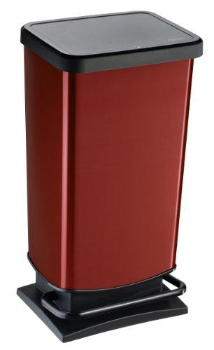 Rotho Paso - Contenedor de basura hermético a olores, con pedal, color rojo, 35,3 x 29,5 x 67,6 cm, 40 L