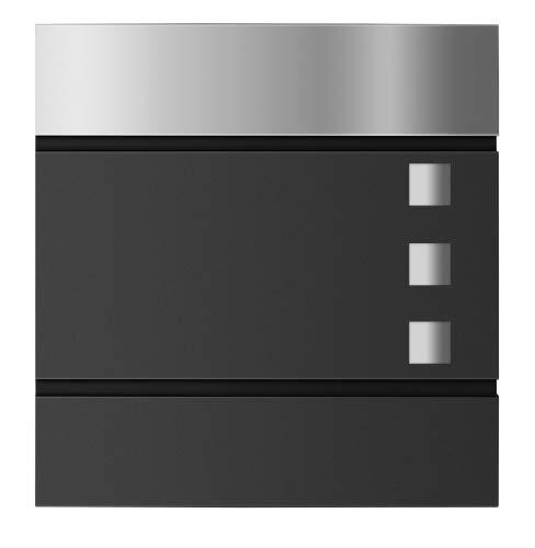 Frabox Design Briefkasten LENS Edelstahl / Anthrazitgrau Exklusiv