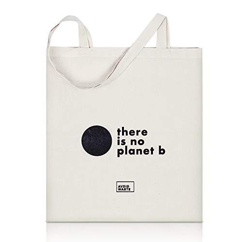 40b9203c4e211 avoid waste - Jutebeutel Bedruckt - Nachhaltige Einkaufstasche mit Aufdruck  und Langen Griffen (no P
