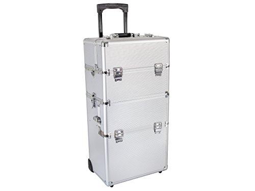 Beauty Trolley INFINITY Aluminium silber - Kosmetik-Koffer - Friseur-Koffer - Schmink-Koffer - Nageldesign-Koffer -