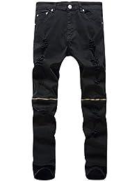 QK-Lannister Pantaloni da Uomo in Denim con Risvolto Ragazzo in Denim  Strappato da Uomo Pantaloni da Denim in… 3376cef04179