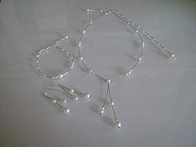 Parure bijoux Femme Mariée Mariage Blanc (dispo Ivoire) Style perle culture Collier Bracelet Boucles d'oreille Bijou de dos Soirée Cérémonie Coktail robe perles (pas cher, petit prix)