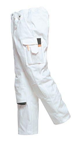 Baumwolle Maler Hose (Herren Arbeit New Portwest S817Maler Schützen Baumwolle Multi Pocket Hose Weiß S-XXL (S (30–32)))