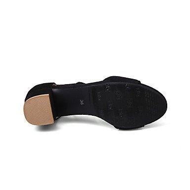 LvYuan Sandalen-Büro Kleid Lässig-Vlies-Blockabsatz-Gladiator Club-Schuhe-Schwarz Rot Beige Beige