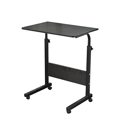 DlandHome 60 * 40cm Computertisch Schreibtisch Laptoptisch Beistelltisch mit Rollen höhenverstellbar, Laptop Notebook Ständer Tisch Frühstück Tablett für Bett, Sofa, Couch Schwarz