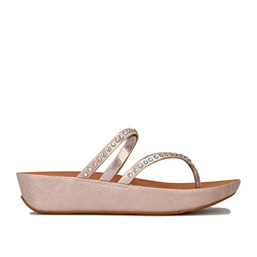 Womens FitFlop Linny Criss Cross Toe Thong Sandals in blush / metallic nude.