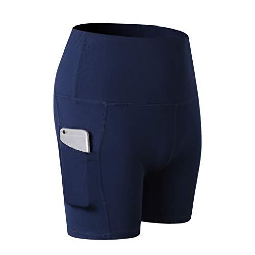 VEMOW Yoga Short Damen Abdomen Tummy Control Höhe Taille Training Workout Laufen Yoga Hosen Athletisch Nicht Durchsichtig Yoga Shorts(X1-Marine, L) -