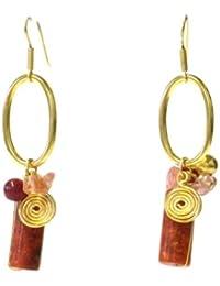 Chic-Net Kupferohrringe- Ohrringe mit roter zylinderförmiger Korallen und Rosenquarz- nickelfrei