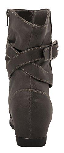 Elara Damen Stiefeletten | Flache Lederoptik Boots | Zipper Profilsohle Grau