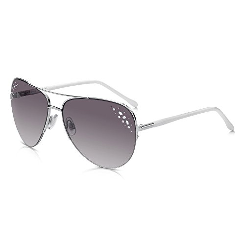 Sunglass Junkie Elegante Damen Pilotenbrille. Silberner Metall-Halbrahmen mit formschönen,...