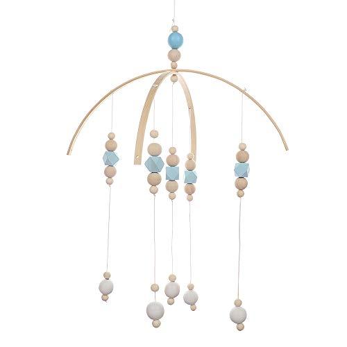 NewPointer - Carillon à Vent en Bois Style Nordique - Perles en Bois - Décoration pour lit d'enfant - Lit de bébé Portable à Suspendre, Bleu, 32 x 52 cm