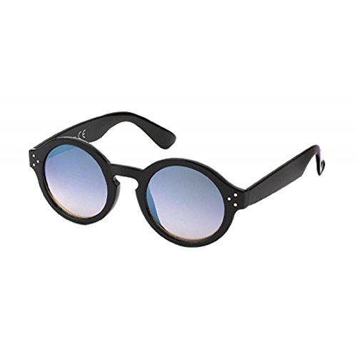 Sonnenbrille Retro Round Glasses 400 UV Schlüssellochsteg drei Zierpunkte blau