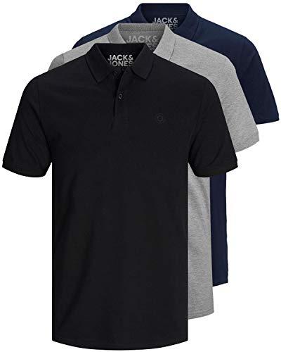 JACK & JONES 3er Pack Herren Poloshirt Slim Fit Kurzarm schwarz weiß blau grau XS S M L XL XXL einfarbig (3er Pack Mix4, M)