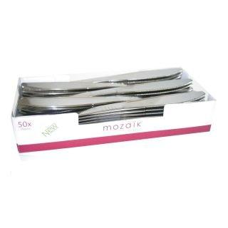 Thali sortie - 50 x Argent métallisé Couteau en plastique résistant-Luxe les couverts jetables pour les mariages et les fêtes d'anniversaire Special Occasions-Mozaik Par Sabert