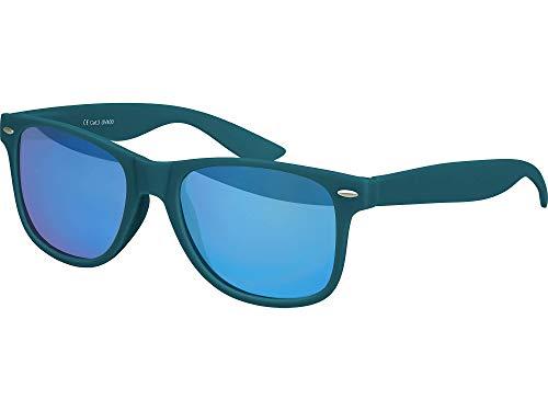 Balinco Hochwertige Nerd Sonnenbrille Rubber im Wayfarer Stil Retro Vintage Unisex Brille mit Federscharnier - 96 verschiedene Farben/Modelle wählbar (Dunkelblau/Grün - Blau verspiegelt)