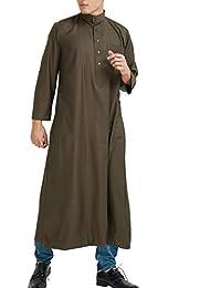 7a426a874afe TAAMBAB Musulmano Caftan Jalabiya Thobe Uomo Medio Oriente Saudi Arabo  Girocollo Robes - Islamico Ramadan Abbigliamento