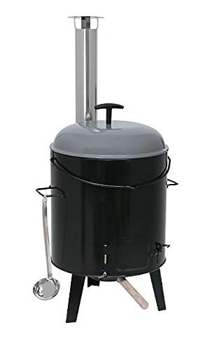 Kamino-Flam Eintopfofen mit Grillfunktion 17 l - Gulaschkanone aus Stahlblech emailliert - Gulaschkessel-Set 6-teilig - Suppenkessel Dreibein inkl. Zubehör - Ungarischer Gulaschkessel -