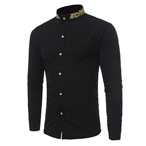 DNOQN Tops Herren Freizeit Herbst Slim Fit T-Shirt Top Long Sleeved T-Shirt Men Spring Slim Stehkragen Fit Langarm Stickerei T-Shirt Top Bluse Schwarz L