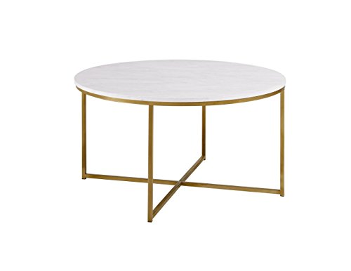WE Furniture Couchtisch aus Holz Kaffeetisch Faux Marble/Gold