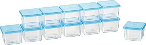 Kigima Mini-Tiefkühldose 0,08l rechteckig 5x5x4 cm 12er Set (Kleine Behälter Mit Deckel)