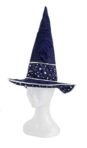 Kostüm Zubehör Hut Sterne blau Zauberer Hexe Karneval Fasching (Hexe Sterne Hut)