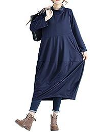 Vestito Oversize Donna Elegante Retro Abito Lungo Autunno Inverno Basic  Jersey Vestiti Taglie Comode Maniche Lunghe con Tasche Maxi… 93aa049a064d