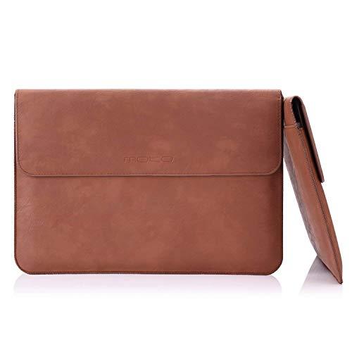 MoKo MacBook Pro 15 Zoll Laptop Hülle - PU Leder Tasche Nubuck Fibre Interior Notebooktasche Schutzhülle Ledertasche Wallet Case Leather Sleeve mit Karten-Slot, Braun