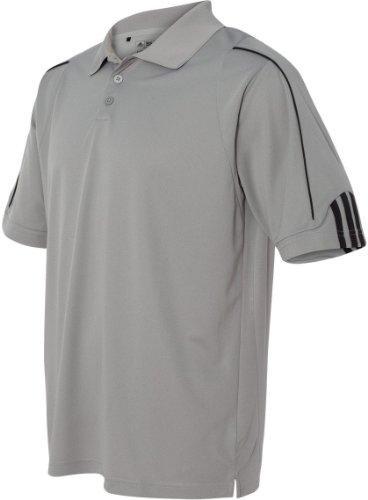 Adidas Herren ClimaLite 3-Streifen Manschette Piqué Polo gris - ZONE/BLACK