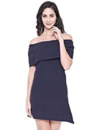 COA Womens Organic Cotton TAKE-IT-Easy Solid Navy Blue Slim A-line Off-Shoulder Skater Dress for Women with Ruffled Overlay Short Sleeve