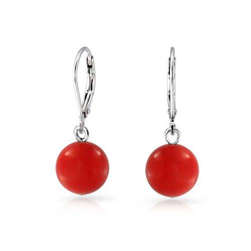 Einfache Rot Gefärbten Natürliche Korallen Runde Kugel Tropfen Baumeln Ohrhänger Für Damen 925 Sterling Silber