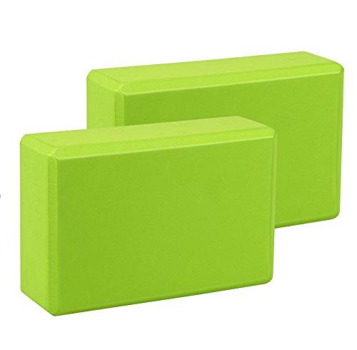 Exerz EXYB-002 Bloque De Yoga x 2 PK - Cómodo Fitness Foam Bricks, Antideslizante - Ligero y fácil de Usar (Verde)