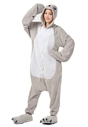 Ovender® kigurumi pigiami animali unisex donna uomo costume carnevale halloween cosplay unicorno orsetto coniglio lupo pinguino panda festa party zoo onesies tuta anime (small, foca)
