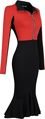 Jeansian Femme Sexy Parti Cocktail Fashion Womens Robes Lady Casual Temperament Slim Crayon Dress WKD255 red