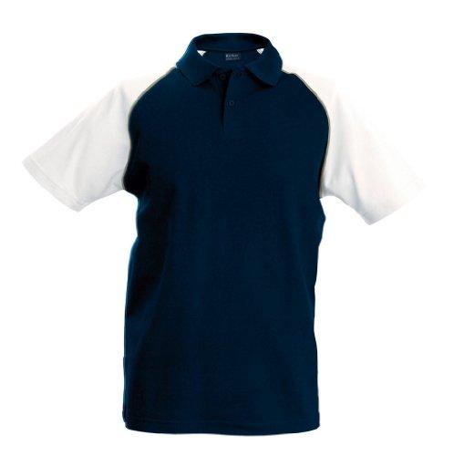 Trendiges Piqué Baseball Poloshirt Navy/Light Grey/White