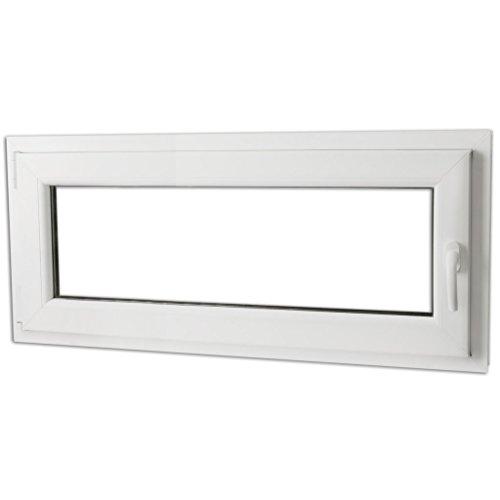 Festnight 3-in-1 PVC Fenster Drehkippfenster Kellerfenster mit Dreifach Verglast, Rechtsseitig Griff 900x400mm