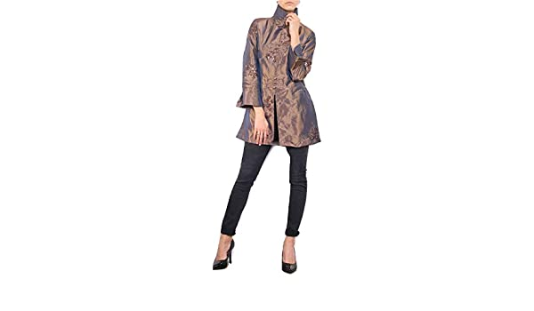 Strawberry Leopard Womens Floral Embroidery Sequin Trench Coat Jacket Size 18