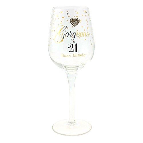 Verre à vin pour fête de 21ème anniversaire avecmessage «Gorgeous at 21, Happy Birthday!», inscriptions dorées avec motifs de pois et cœur, livré dans un coffret de présentation