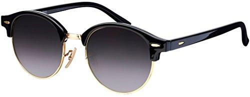 Sonnenbrille Halbrand La Optica UV 400 Schutz Unisex Damen Herren Rund Round - Schwarz Gold (Gläser: Grau)