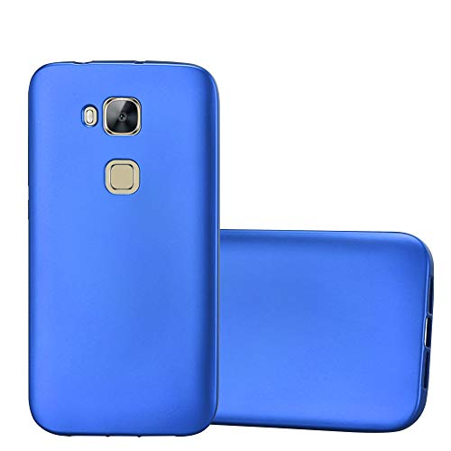Cadorabo Hülle für Huawei G7 Plus / G8 / GX8 - Hülle in METALLIC BLAU – Handyhülle aus TPU Silikon im Matt Metallic Design - Silikonhülle Schutzhülle Ultra Slim Soft Back Cover Case Bumper