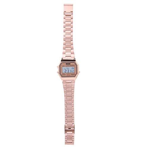 Armbanduhr Elektronische Uhr 3Colors Digital LED Rücklicht Elektronische Uhr-Rechteck mit Edelstahl Bügel(Roségold)