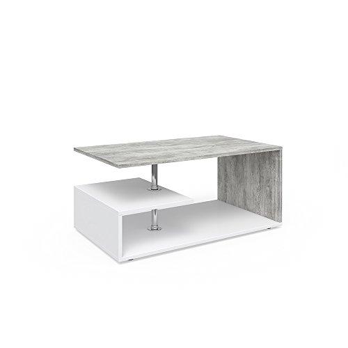Vicco Couchtisch GUILLERMO 91 x 52 cm - Wohnzimmertisch Beistelltisch Holztisch Kaffeetisch - 4 Farben zur Auswahl (weiß beton) (Couchtisch Kunststoff Rechteckiger)