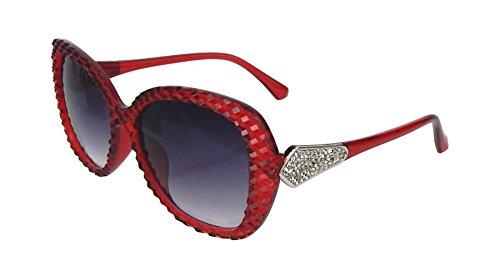 Ella Jonte stylisheSonnenbrille rot mit Prägung und silberfarbener Verzierung Statement-Brille UV 400