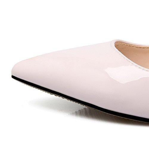 AalarDom Femme Pu Cuir Couleur Unie à Talon Correct Pointu Chaussures Légeres Violet Clair